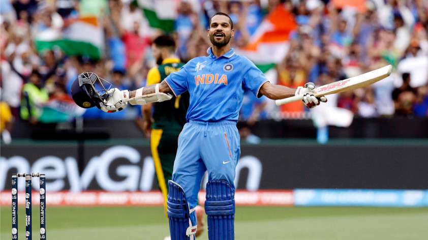 Shikhar Dhawan of India was excited after scoring a century