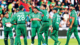 Bangladesh Cricketers Celebrate after a wicket  in ICC Cricket World Cup 2019