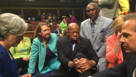US Democrats staged a rare sit-in Wednesday in the House of Representatives, demanding that the Republican-led body vote on gun-control legislation following the Orlando nightclub massacre.