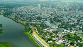 An aerial view of Dhaka city